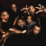 Photo by Joe Mazza, Brave Lux. The ensemble of THE HAIRY APE. Clockwise from left: Rashaad Hall, Bradford Stevens, Julian Parker, Michael Turrentine, Tony Santiago, and Breon Arzell.